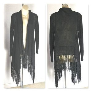 Love Stitch Black Knit Fringe Cardigan Size Large